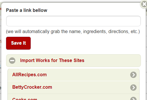 Import Recipes from Your Favorite Sites
